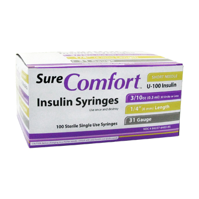 Sure Comfort Insulin Syringes - 31 G, 0.3 cc, 1/4 in - 100 ea - 22-6403