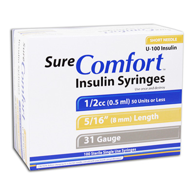 Sure Comfort Insulin Syringes - 31 G, 0.5 cc, 5/16 in - 100 ea - 22-6505