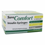 Sure Comfort Insulin Syringes - 31 G, 1 cc, 1/4 in - 100 ea - 22-6410