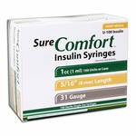 Sure Comfort Insulin Syringes - 31 G, 1 cc, 5/16 in - 100 ea - 22-6510