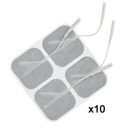 TENS Unit Electrode Pads, White Cloth Backed, 2 x 2 Square - 40 Pads