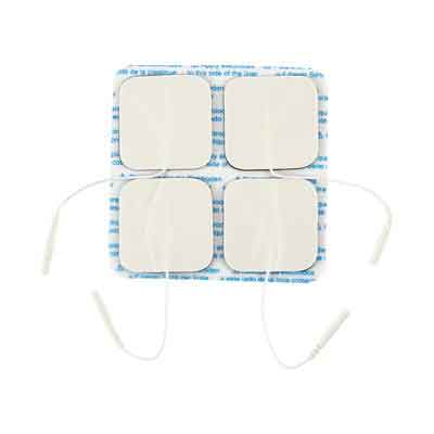 TENS Unit Electrode Pads, White Foamed Backed, 2 x 2 in Square - 4 Pads