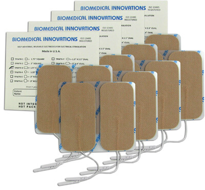 BioTENS (Formerly TENS STPWT 4-3) TENS Unit Premium Silver Electrodes 1.75 x 3.75 in Rectangle, Tan Mesh Backed - 16 Pads