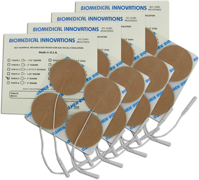 BioTENS (Formerly TENS STPWT 4-5) TENS Unit Premium Silver Electrodes 2 in Round, Tan Mesh Backed - 16 Pads