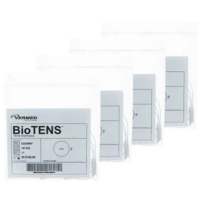 BioTENS (Formerly TENS STPWT 4-6) TENS Unit Premium Silver Electrodes 3 in Round Tan Mesh Backed 16 Pads