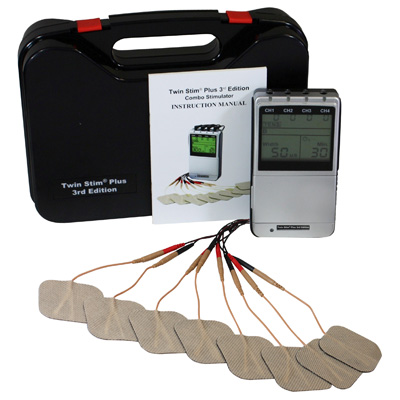 Roscoe Medical Twin Stim Plus 3rd Edition Combo Quad Channel TENS, EMS, Russian and IF Unit with AC Adapter DS5402