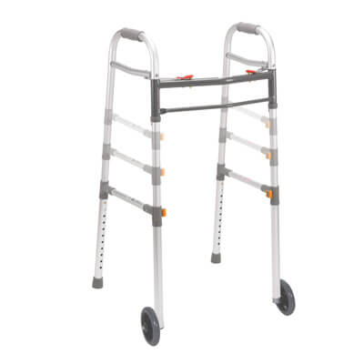 Drive Medical Two Button Folding Universal Walker with 5 in Wheels 10253-1