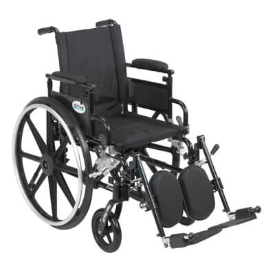 Drive Medical Viper Plus GT Wheelchair with Flip Back Removable Adjustable Desk Arm and Elevating Leg Rest pla416fbdaarad-elr