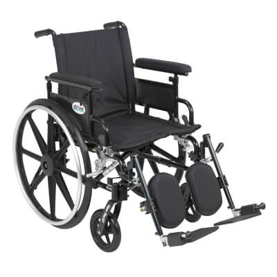 Drive Medical Viper Plus GT Wheelchair with Flip Back Removable Adjustable Full Arm and Elevating Leg Rest pla420fbfaarad-elr