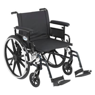 Drive Medical Viper Plus GT Wheelchair with Flip Back Removable Adjustable Full Arm and Swing Away Footrest pla422fbfaar-sf