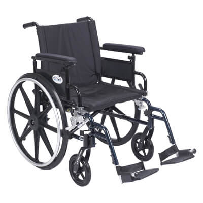 Drive Medical Viper Plus GT Wheelchair with Flip Back Removable Adjustable Full Arm and Swing Away Footrest pla420fbfaarad-sf