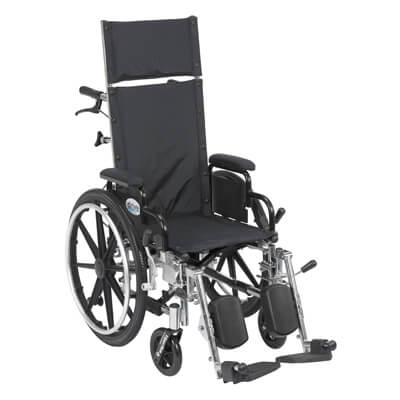 Drive Medical Viper Plus Light Weight Reclining Wheelchair with Elevating Leg rest and Flip Back Detachable Desk Arms pl414rbdda