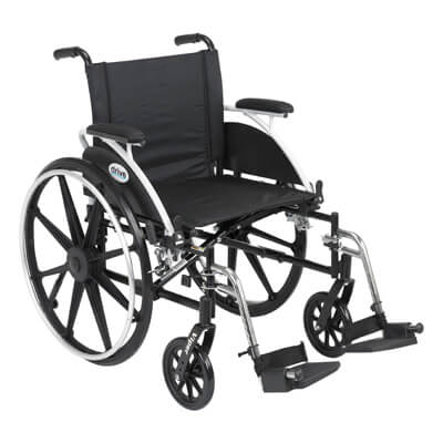 Drive Medical Viper Wheelchair with Flip Back Removable Desk Arms and Swing Away Footrest l420dda-sf