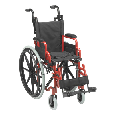 Wallaby Pediatric Folding Wheelchair 12 Fire Truck Red - Drive Medical - WB1200-2GFR