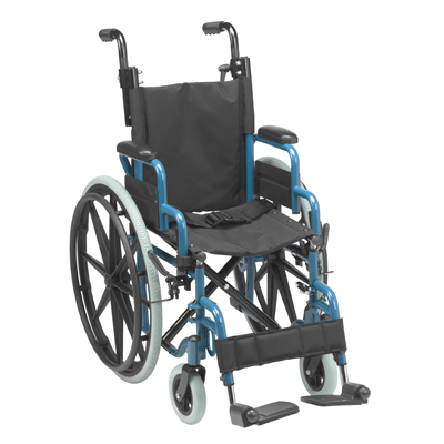 Wallaby Pediatric Folding Wheelchair 14 Jet Fighter Blue - Drive Medical - WB1400-2GJB