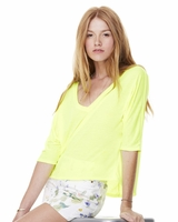 Bella - Flowy V-Neck Cropped T-Shirt - 8825 - S-2XL - 9 Colors