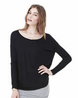 Bella - Ladies Flowy Long Sleeve T-Shirt With 2x1 Rib Sleeves - 8852