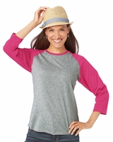 LAT - Ladies Fine Jersey 3/4 Sleeve Baseball T-Shirt - 3530 - S-2XL - 9 Colors