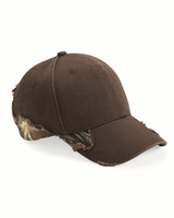 Outdoor Cap - Frayed Cap with Camo (Realtree or Mossy Oak) - BSH350 - 3 Colors