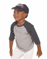 Rabbit Skins - Toddler Fine Jersey Three-Quarter Sleeve Baseball T-Shirt - 2T-5/6 - 9 Colors