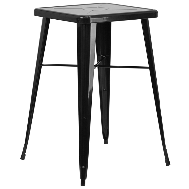 Square Black Metal IndoorOutdoor Bar Table Set With - Bar stools and table set