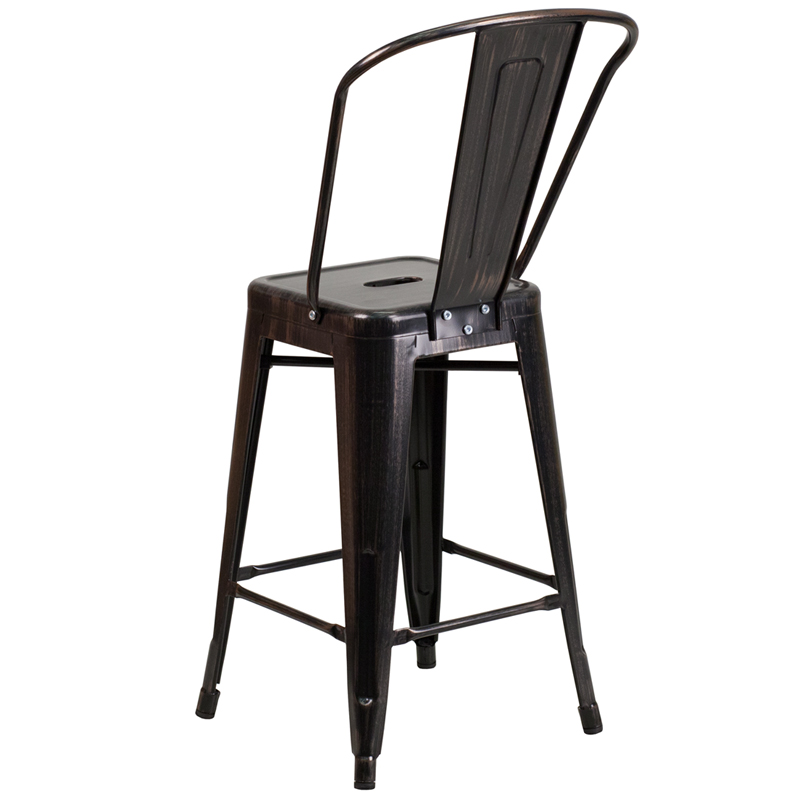 high gold metal counter height stool with back by flash furniture