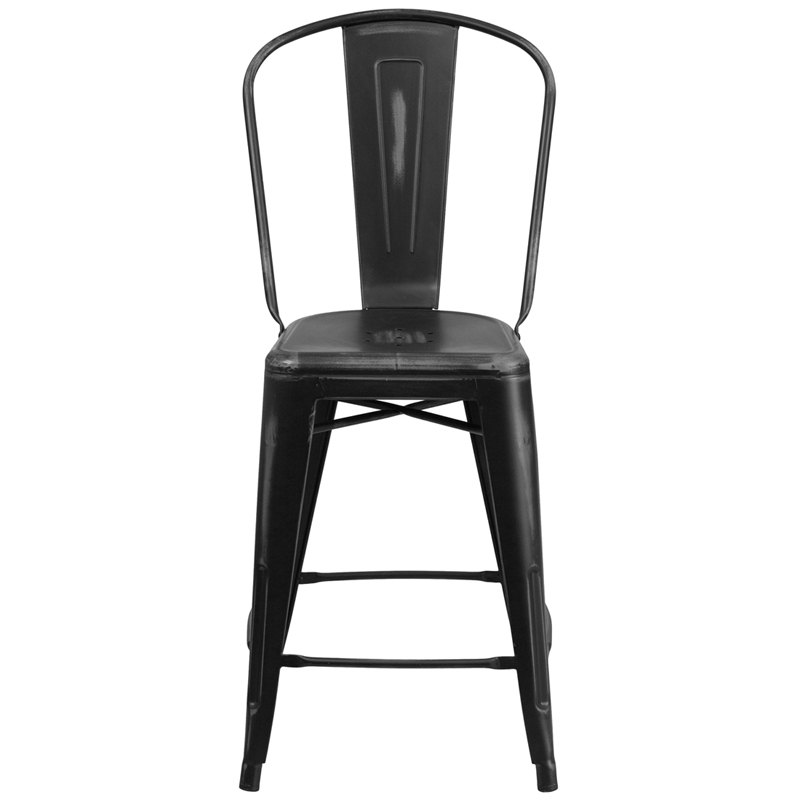 24u0027u0027 High Distressed Black Metal Indoor-Outdoor Counter Height Stool with Back by Flash Furniture  sc 1 st  RestaurantFurniture4Less.com : counter height stools with back - islam-shia.org