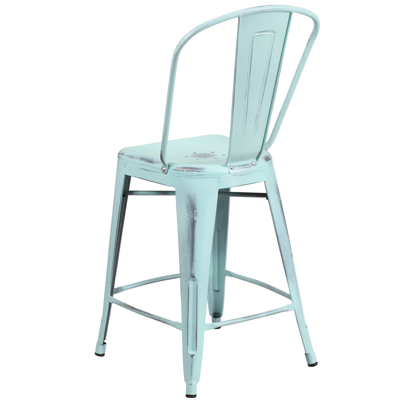 Click on a thumbnail to Enlarge  sc 1 st  RestaurantFurniture4Less.com & 24u0027u0027 High Distressed Green-Blue Metal Indoor-Outdoor Counter ... islam-shia.org