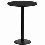 24'' Round Black Laminate Table Top with 18'' Round Bar Height Base [BFDH-24BKRD-6BAR-TDR]