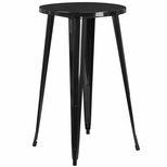24'' Round Black Metal Indoor-Outdoor Bar Height Table [CH-51080-40-BK-GG]