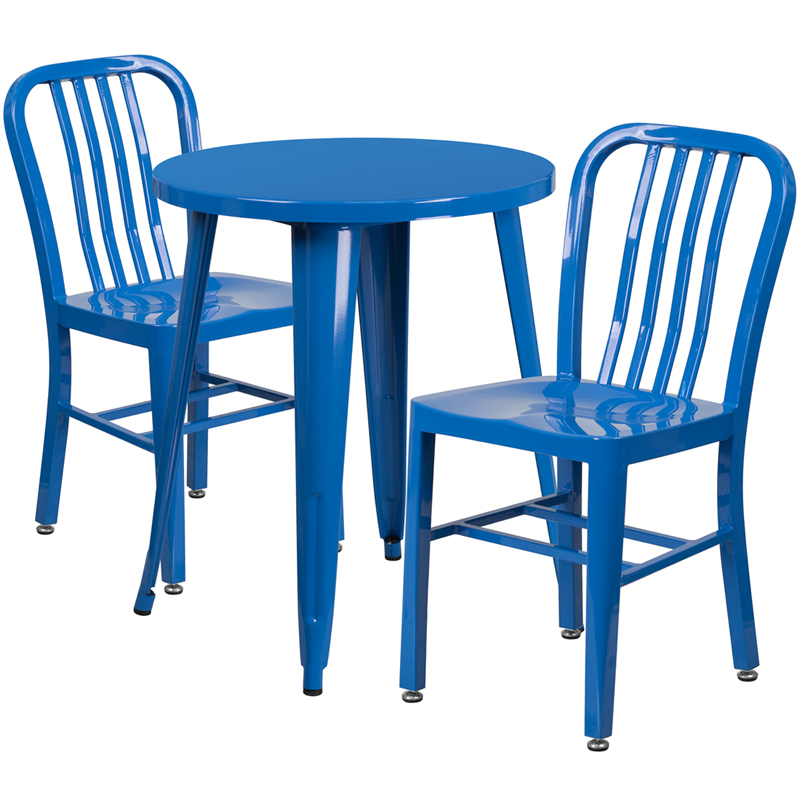 24 39 39 round blue metal indoor outdoor table set with 2 for Html vertical table