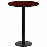 24'' Round Mahogany Laminate Table Top with 18'' Round Bar Height Base [BFDH-24MAHRD-6BAR-TDR]
