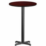 24'' Round Mahogany Laminate Table Top with 22'' x 22'' Bar Height Base [BFDH-24MAHRD-2BAR-TDR]