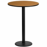 24'' Round Natural Laminate Table Top with 18'' Round Bar Height Base [BFDH-24NATRD-6BAR-TDR]