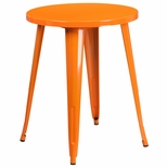 24'' Round Orange Metal Indoor-Outdoor Table [CH-51080-29-OR-GG]