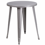 24'' Round Silver Metal Indoor-Outdoor Table [CH-51080-29-SIL-GG]