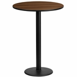 24'' Round Walnut Laminate Table Top with 18'' Round Bar Height Base [BFDH-24WALRD-6BAR-TDR]