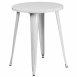 24'' Round White Metal Indoor-Outdoor Table [CH-51080-29-WH-GG]