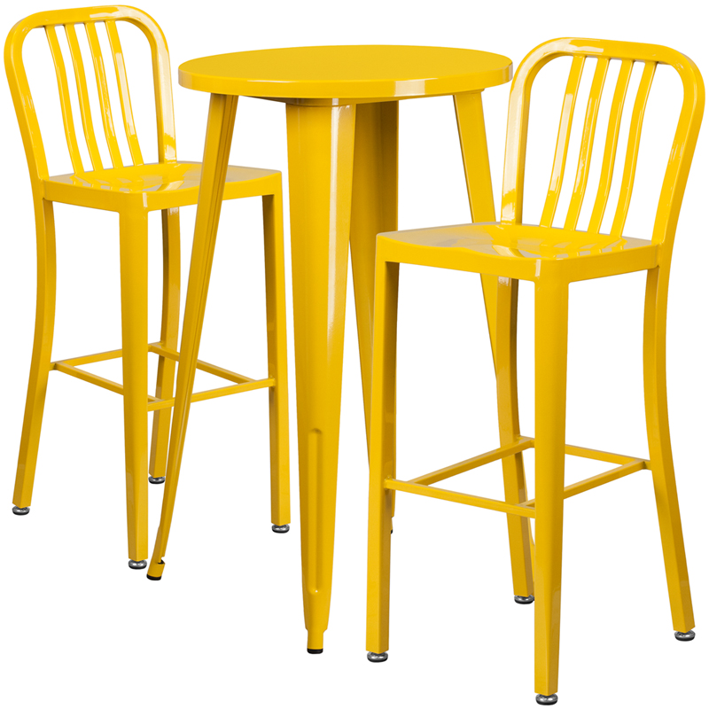 24 39 39 round yellow metal indoor outdoor bar table set with for Html vertical table