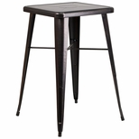 23.75'' Square Black-Antique Gold Metal Indoor-Outdoor Bar Height Table [CH-31330-BQ-GG]