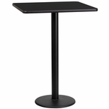 24'' Square Black Laminate Table Top with 18'' Round Bar Height Base [BFDH-2424BKSQ-6BAR-TDR]