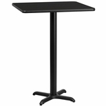 24'' Square Black Laminate Table Top with 22'' x 22'' Bar Height Base [BFDH-2424BKSQ-2BAR-TDR]