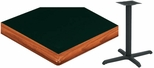 24'' Square Laminate Table Top with Bullnose Wood Edge and Base - Bar Height [ATWB2424-T2222-BAR-3M-SAT]