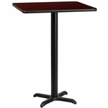 24'' Square Mahogany Laminate Table Top with 22'' x 22'' Bar Height Base [BFDH-2424MAHSQ-2BAR-TDR]