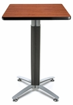 24'' Square Cafe Table with Metal Mesh Base - Cherry [CMT24SQ-CHY-FS-MFO]