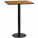 24'' Square Natural Laminate Table Top with 18'' Round Bar Height Base [BFDH-2424NATSQ-6BAR-TDR]