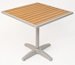24'' Square Synthetic Teak Outdoor Table Top with Silver Base [TA-PT-24X24-AL-1805-FLS]
