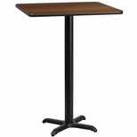 24'' Square Walnut Laminate Table Top with 22'' x 22'' Bar Height Base [BFDH-2424WALSQ-2BAR-TDR]