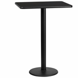 24'' x 30'' Rectangular Black Laminate Table Top with 18'' Round Bar Height Base [BFDH-2430BKREC-6BAR-TDR]