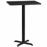 24'' x 30'' Rectangular Black Laminate Table Top with 22'' x 22'' Bar Height Base [BFDH-2430BKREC-2BAR-TDR]